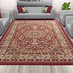 "Sweet Home Stores Medallion Design Non-Slip Rubber Backing Area Rug, 5'0"" X 6'6"", Red"