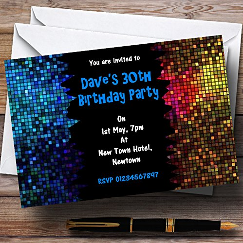 Disco Ball Blue Personalized Party Invitations (Disco Ball Invitations)