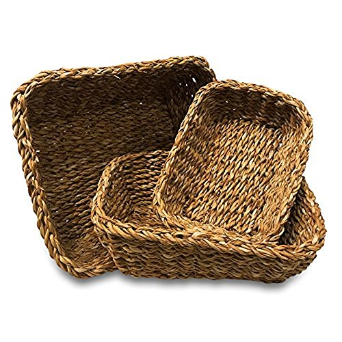Whole House Worlds The Made by Nature Rectangular Rustic Chunky Weave Seagrass Nesting Baskets, Set of 3, Various Sizes Approx. 11, 9 1/2, and 7 3/4 Inches Long, By WHW