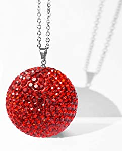 JJMY Christmas Bling, Red Car Bling Ornament for Rear View Mirror Charm Bling Car Accessories Decor Rhinestone Crystal Ball Bling Christmas Tree Decoration