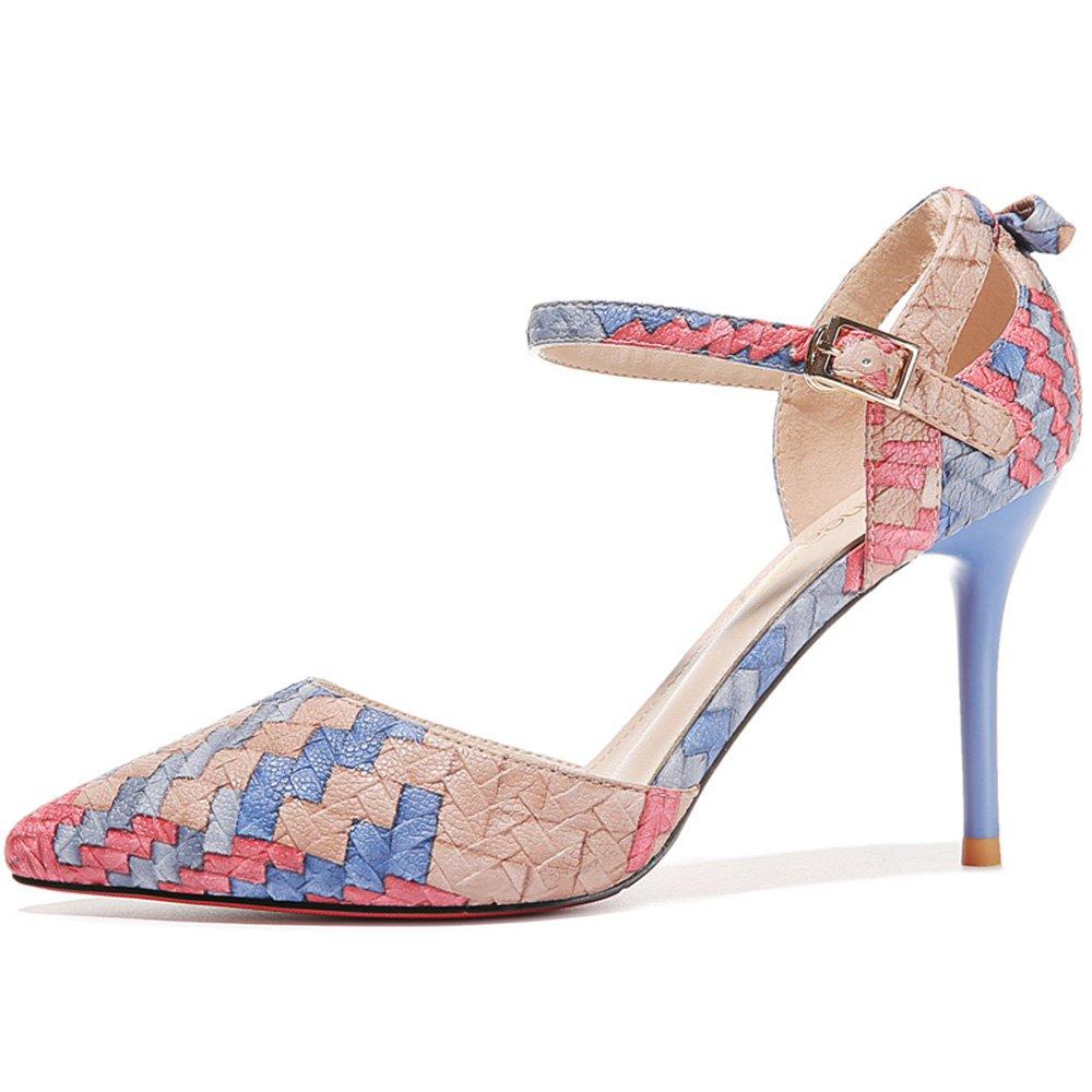 Sandalen Feifei Damenschuhe Mode Mischfarben Fein Fein Fein Mit Spitze Einzelne Schuhe 2 Farbe Optional (mit Hoch  8 cm) (Farbe   01, größe   EU36 UK3.5 CN35) B07C7BNHWF Tanzschuhe Bekannt für seine schöne Qualität 69f9b2
