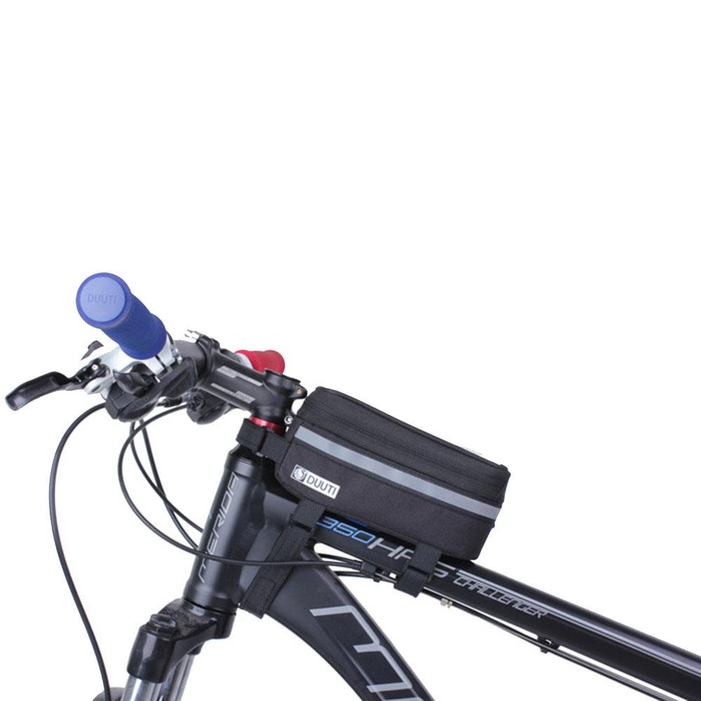 ZHUOTOP bicicleta soporte para teléfono bolsa para sillín de bicicleta impermeable MTB ciclismo equipo 19cm, negro