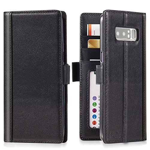 (Galaxy Note 8 Wallet Case Leather - iPulse Journal Series Italian Full Grain Leather Handmade Flip Case for Samsung Galaxy Note 8 with Magnetic Closure - Black)
