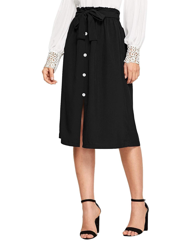 Black1 WDIRARA Women's High Ruffle Waist Belted Knee Length Button Up Skirt