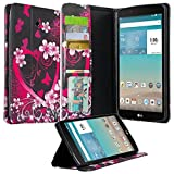 LG G Pad F 8.0/G Pad II 8.0 Folio Case - PU Leather Wallet Cover For (4G LTE AT&T Model V495/T-Mobile V496/US Cellular UK495) & G Pad 2 8.0 V498 8-Inch Tablet Case, (Hot Pink Hearts)