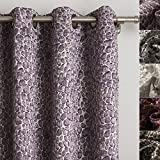 Cheap ChadMade Bubble Stone Jacquard Blackout Thermal Lined Curtain Panel Drape Antique Bronze Grommet Purple – 50Wx63L Inch – (1 Panel)