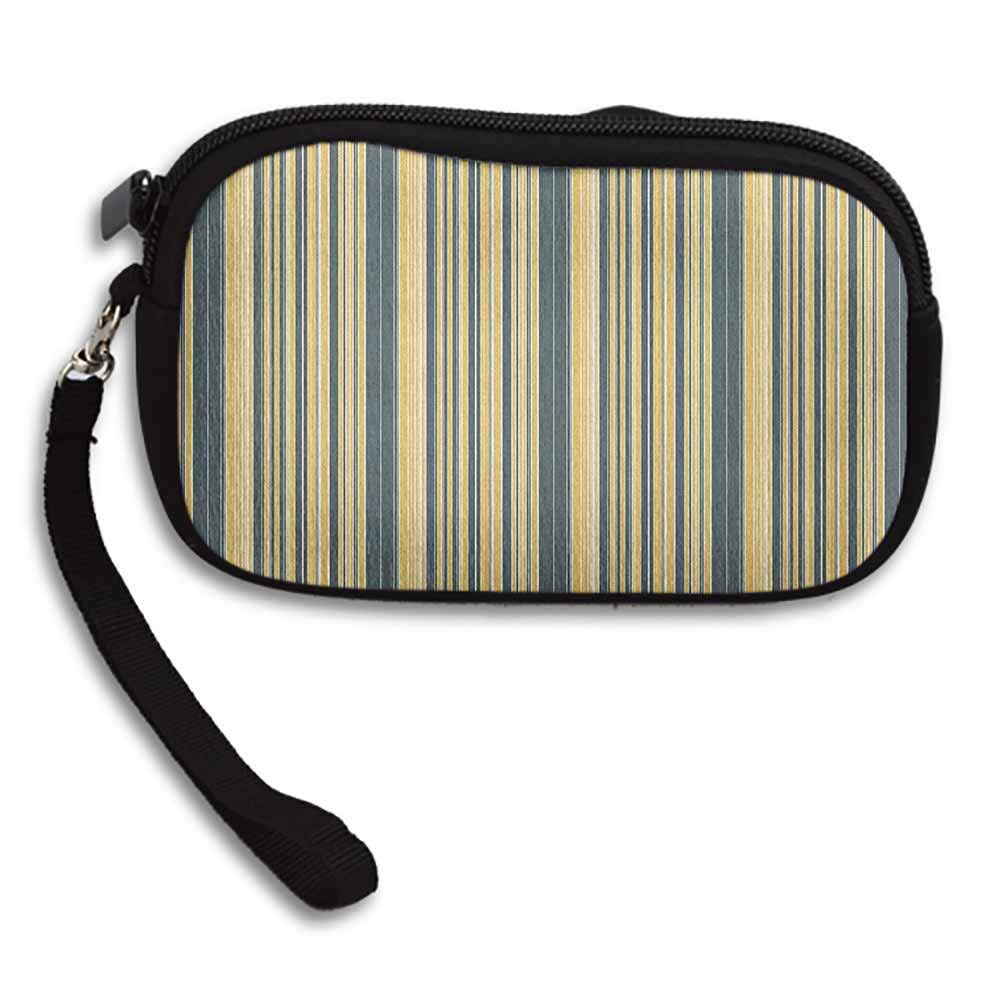 Geometric Coin Wallet Barcode Style Pattern in Retro Colors Straight Parallel Vertical Lines W 5.9x L 3.7 Womens Purse Clutch Bag