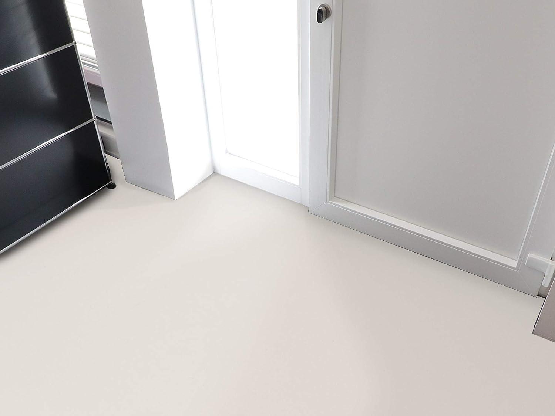PVC Bodenbelag EXPOTOP Profi Vinylboden Schwer Entflammbar Einfarbig 2,00m x 3,50m Uni Wei/ß PVC Boden Meterware Vinyl