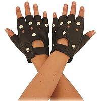 Rimi Hanger Black Biker Fingerless Faux Leather Studded Gloves Adult Sports Wear Gloves One Size