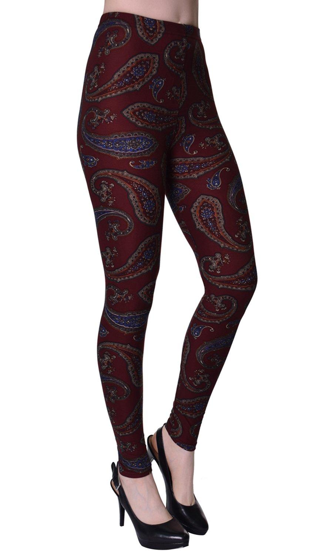 VIV Collection Plus Size Printed Brushed Leggings (Burgundy Paisley)
