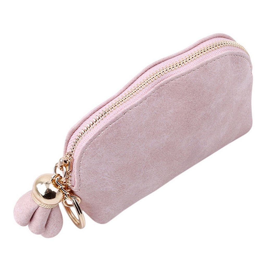 KISSFRIDAY PU Leaher Women Girls Flower Wallet Coins Purse Cute Small Fresh Wallet with Pink