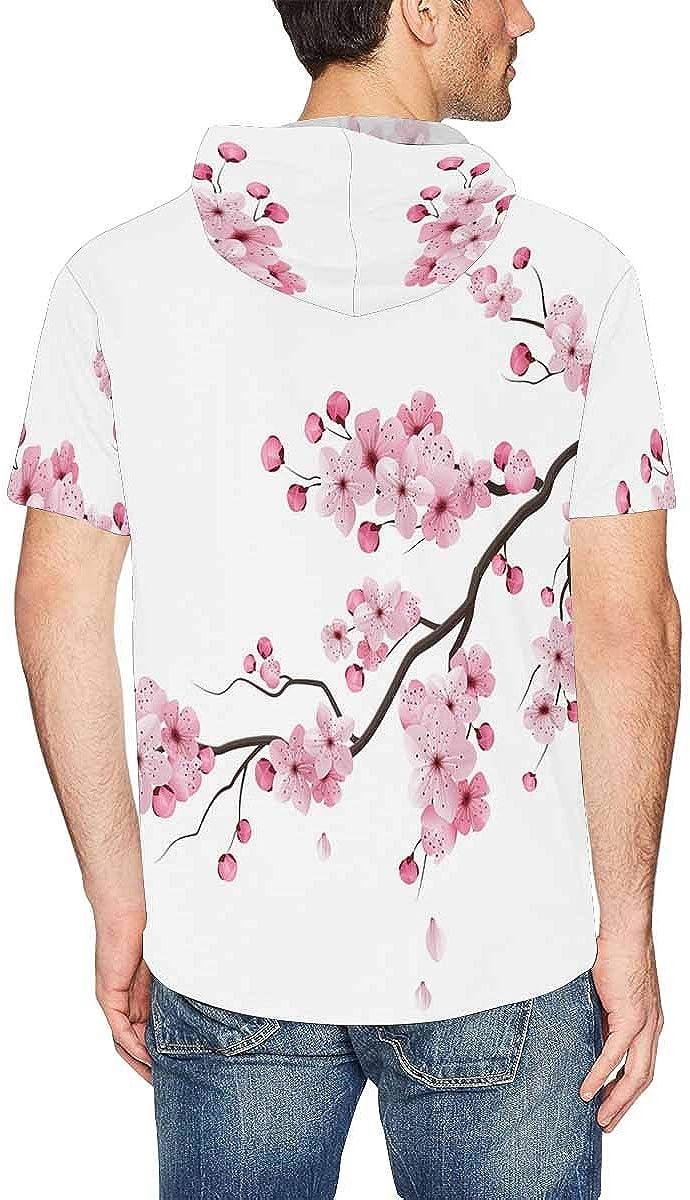 XS-2XL INTERESTPRINT Mens Hoodies Shirts Sakura Cherry Flowers Fashion Short Sleeve Hooded T-Shirt