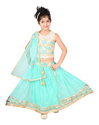 fb80a38f6 P R Enterprises 11 To 12 Yr Baby Girls Traditional Greenish Lehenga Choli