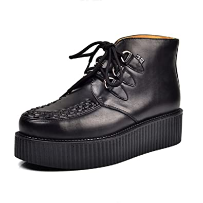 Men's Oxford Genuine Leather Lace Up Platform Punk Creepers