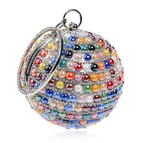 Evening Clutch Shoulder Globular Dress Chain Handbag Women Multi Multicolored Party Wedding tPqW7w5w