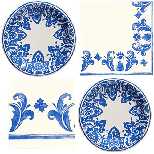 - Molly Hatch Blue China Blue Pattern Plates & Napkins Set Elegant Floral Style 16 count
