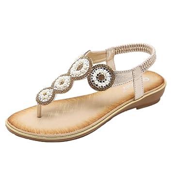 Damen Sommer Sandalen Strass Böhmen Strand Flache T-Strap Schuhe, Golden, 42