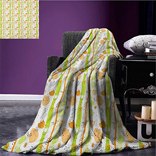 Abstract throw blanket Cartoon Style Floral Pattern with Vertical Stripes Background miracle blanket Pale Orange Apple Green Black ()