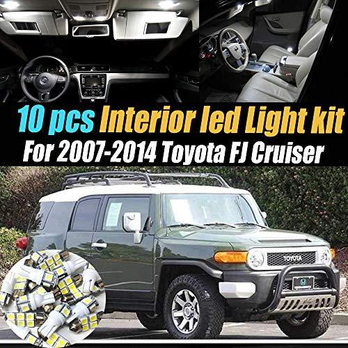 10Pc Super White 6000k Interior LED Light Bulb Kit Package Compatible for 2007-2014 Toyota FJ Cruiser ()