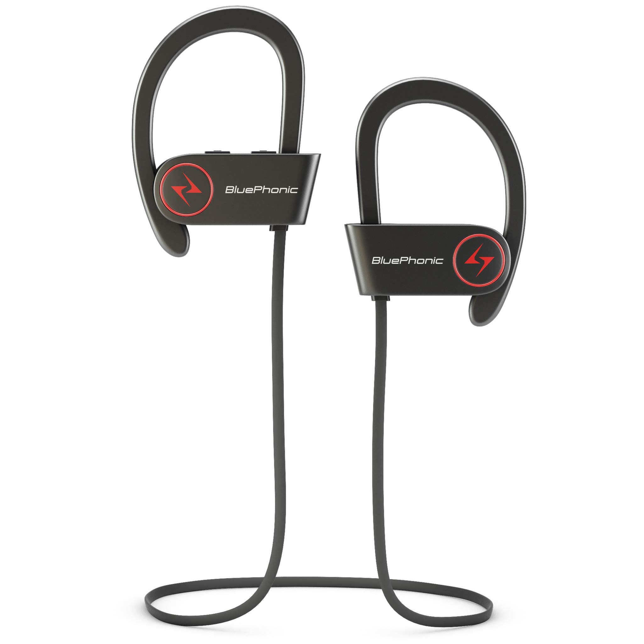 Bluephonic Wireless Sport Bluetooth Headphones, Hd Beats Sound Quality, Sweat Proof Stable Fit in Ear Workout Earbuds, Ergonomic Running Earphones, Noise Cancelling Microphone (Black) by BluePhonic