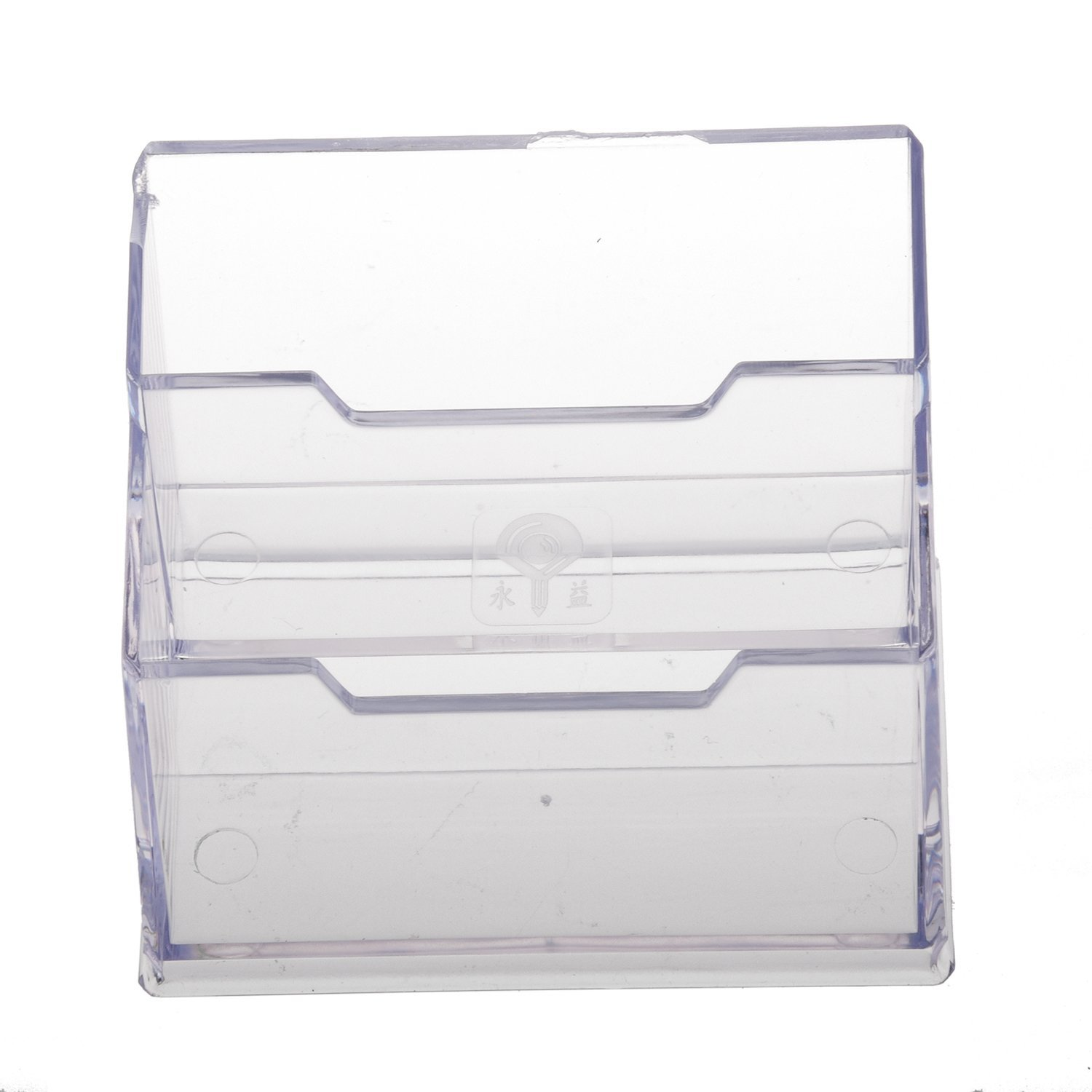 Desktop Business Card Holder Display Stand 2 Compartments Generic