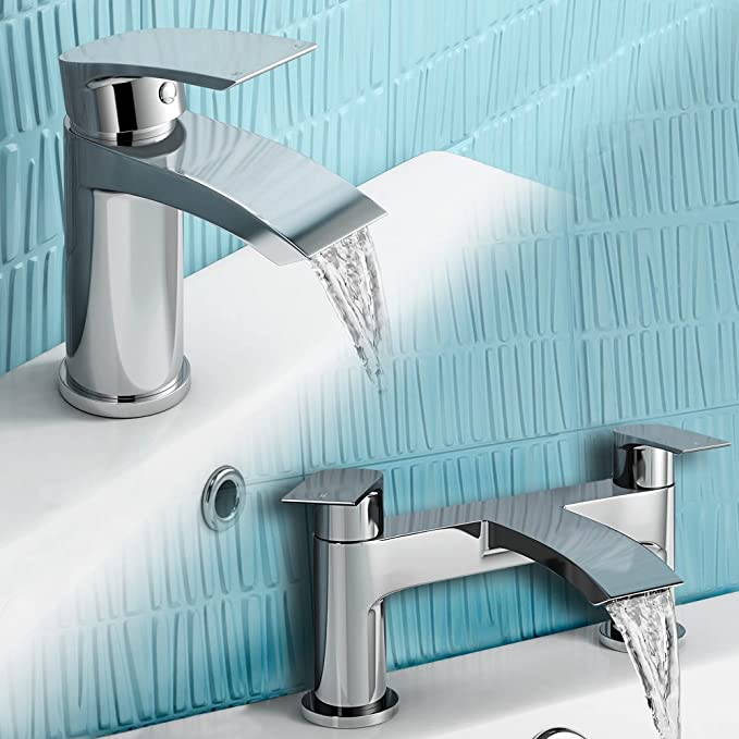 iBathUK Chrome Basin Sink Mixer Tap + Bath Filler Bathroom Faucet ...