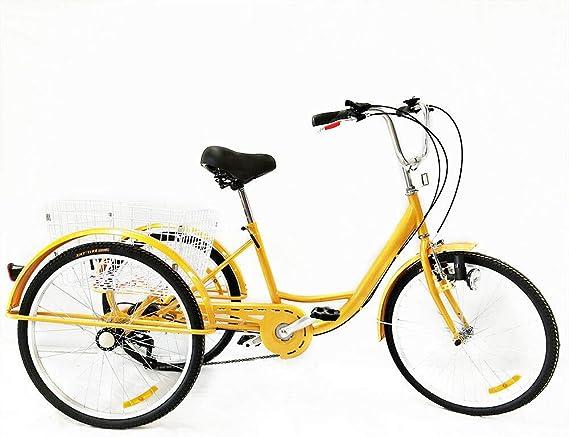 HaroldDol – Triciclo para Adultos, 24 Pulgadas, 6 velocidades, 3 ...