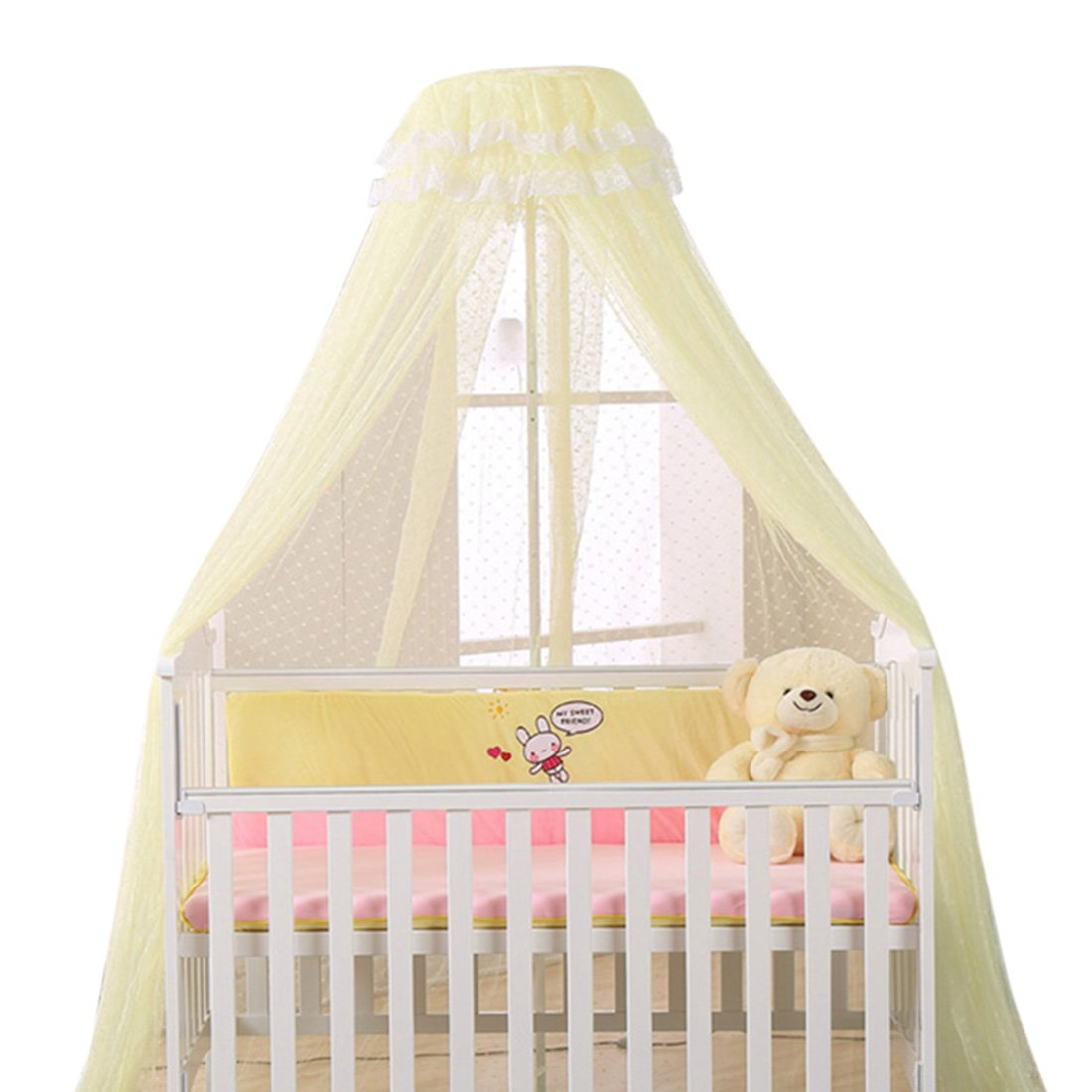 YUENA CARE Baby Bed Dome Mosquito Netting Hanging Bed Net Insect Protection Cover Yellow(net)
