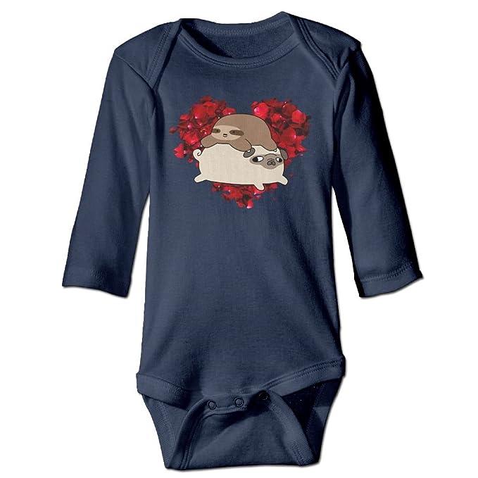 TREEWw Sloth and Pug Rose Heart Baby Boys Girls Long Sleeve Bodysuits Romper 6 M