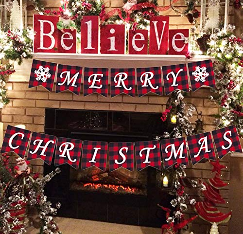 Buffalo Banner (AISENO Merry Christmas Banners Jute Plaid Bunting Burlap Banner Christmas Decorations)