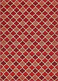 Unique Loom Eden Outdoor Collection Red 8 x 11 Area Rug (8' x 11' 4'')