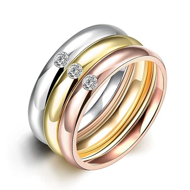 3 opinioni per Nykkola- Set di anelli Eternity in acciaio inox placcato in oro con zirconi, 3