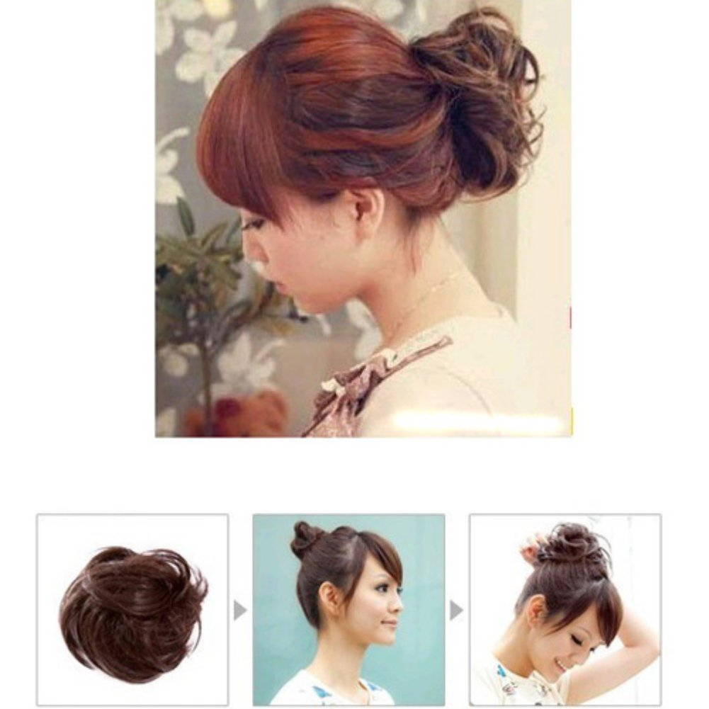 Zehui Hair Extension Pony Tail Bride Bun Hairpiece Fake Hair Scrunchie Wavy Brown: Amazon.co.uk: Beauty