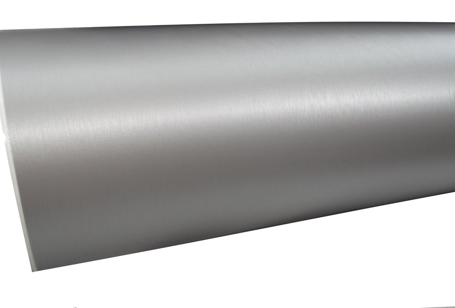 AERZETIX: 152/50cm Pelicula Adhesiva Vinilo Plata Cepillado termoformable Revestimiento de Exterior Interior C17237