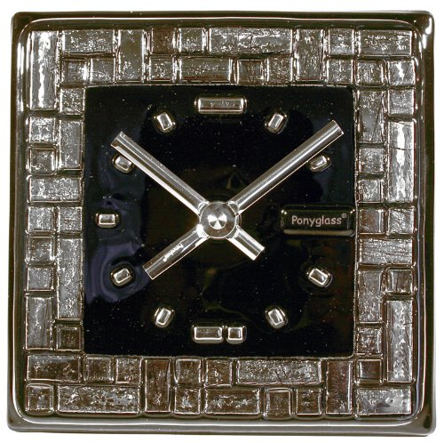 Art Glass with Platinum Leaf Table Top Clock Platinum Labyrinth