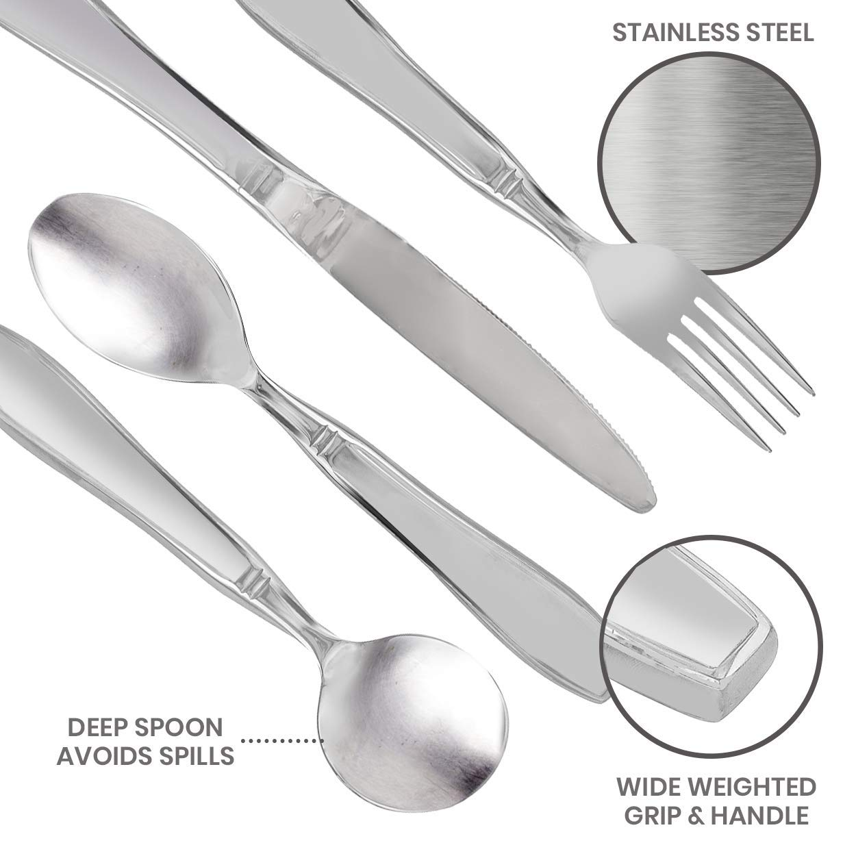 Linelax Weighted Utensils for Tremors and Parkinsons Patients - Heavy Weight Steel Silverware Set of Knife, Fork, Teaspoon and Soup Spoon - Adaptive Eating Flatware Helps Hand Tremor, Parkinson, Arthr by Linelax (Image #3)