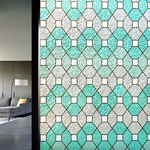 DuoFire Decorative Film Privacy Window Film Stained Glass Film No Glue Anti-UV Removable Window Cling Non-Adhesive window privacy film D95011, (35.4in. x 78.7in.) 90cm x 200cm by DuoFire