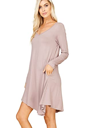 9f298058099 Annabelle U.S.A Womens V Neck Solid Knit Loose Aline Dress Taupe Grey  Medium D5299