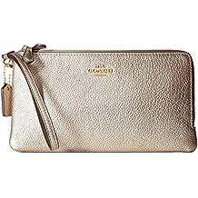 COACH Womens Double Zip Wallet in Metallic Leather