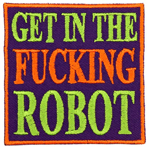 Mecha Anime Get in The Fucking Robot Patch Iron On Applique - Royal Purple, Orange, Bright Green - 3