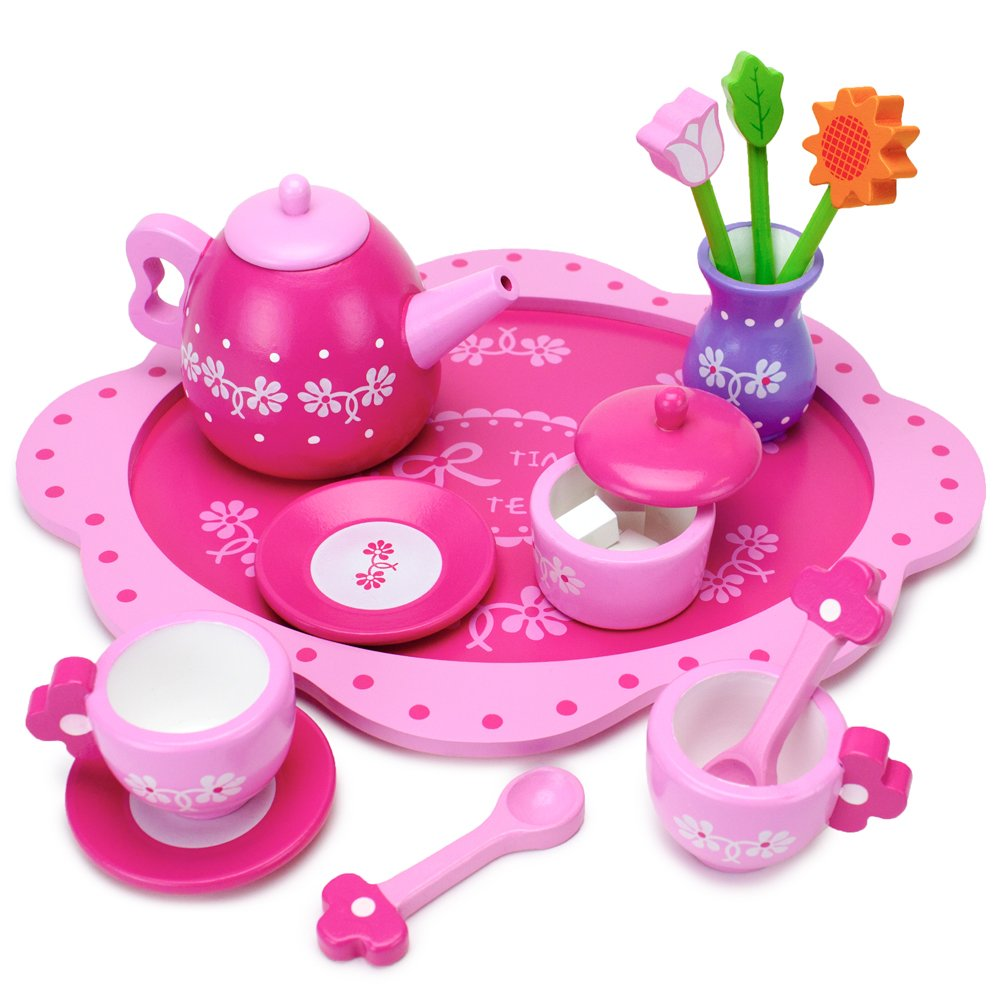 Imagination Generation Pink Blossoms Tea Time Set for Two - Wood Eats! Tea Party Playset with Tea Cups, Kettles, Saucers, Spoons, Flowers, & Floral Tray - Play Food Accessories (16pcs.)