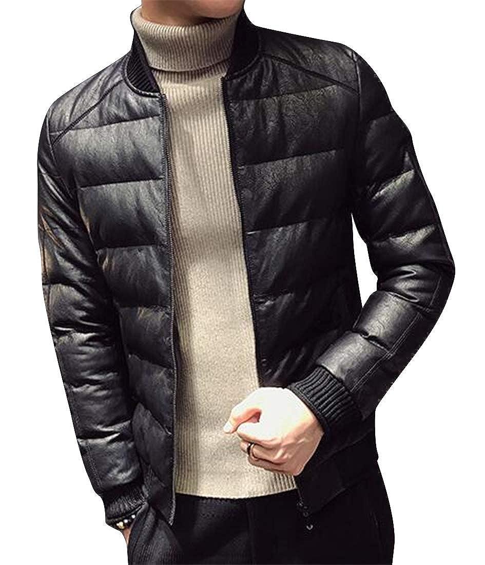 pipigo Men Slim Fit Warm Winter Faux Suede Down Puffer Jacket Coat Outwear