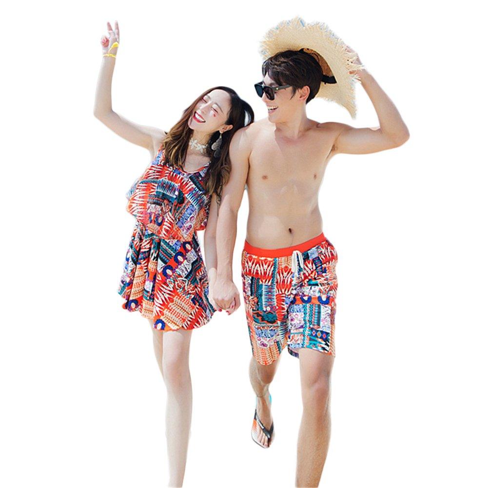 (JUTAOPIN)ペア 水着 かわいい レディース 3点セット 水着 ワンピース メンズ ハーフパンツ 大きいサイズ ペア カップル 水着 体型カバー UVカット 水着 日焼け止め バンドゥ ビキニ 小胸 ワンピース B07DZHLCXX 女M男XL|オレンジ