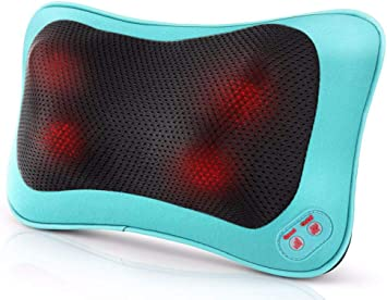 Back Massager Neck Massager Massage Pillow with Heating Function – 2 Keys Control with Net Cover Kneading Massager, Relieve Muscle Pains Soreness ...