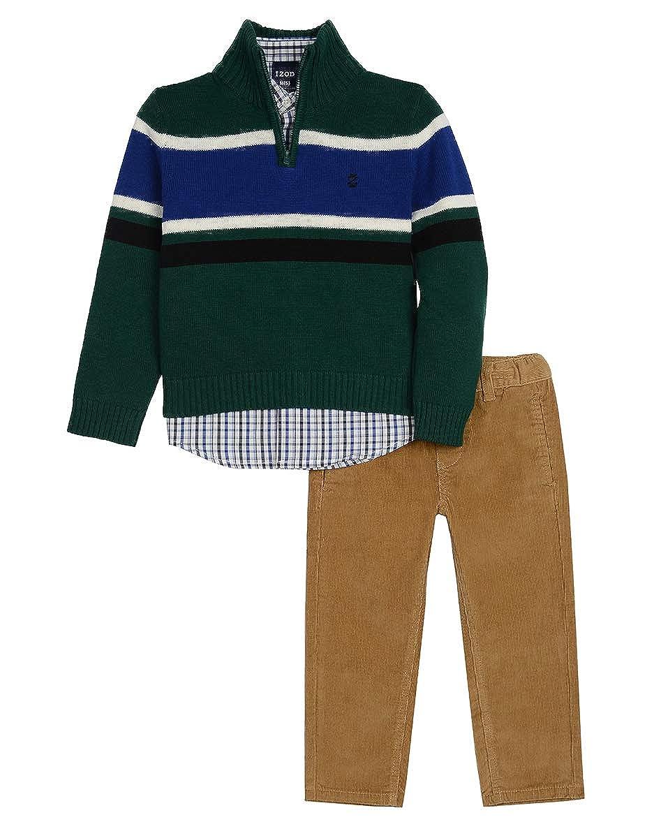 IZOD Boys' 3-Piece 1/4 Zip Sweater, Shirt, and Pant Set IZOD Children' s Apparel