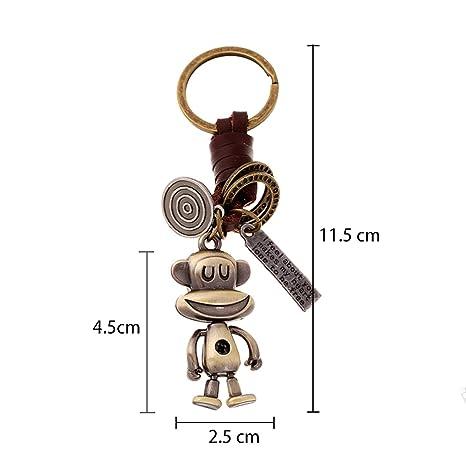 Amazon.com   1 Set Retro Leather Monkey Keychain Pendants Men Fur Rabbit  Utility Tool Key Ring Sumptuous Popular Pocket Teen Bag Car Keyrings    Office ... 9c8c18add386