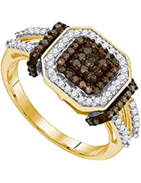 Solid 10k Yellow Gold Round Chocolate Brown And White Diamond Engagement Ring OR Fashion Band Channel Set Square Shape Solitaire Shaped Halo Ring (1/2 cttw)