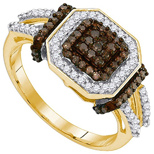- Size - 7.5 - Solid 10k Yellow Gold Round Chocolate Brown and White Diamond Engagement Ring OR Fashion Band Channel Set Square Shape Solitaire Shaped Halo Ring (1/2 cttw)