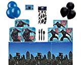 Black Panther Party Supplies Pack for 16, Black Panther Paper Dessert Plates, Napkins, Superhero Table Cover, Cutlery, Balloons and Stickers - Bundle of 6 Items