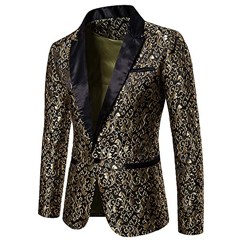 MAGE MALE Men's Floral Party Dress Suit Stylish Dinner Jacket Wedding Blazer Prom Tuxedo Gold ()